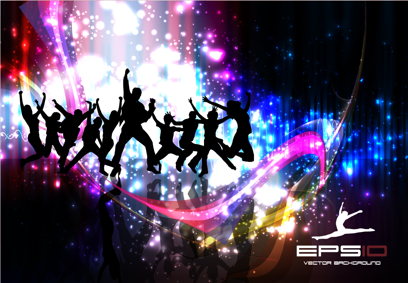 Silhouette Dance Music Abstract Background: Bezierinfoベジェインフォ: ダンスを楽しむシルエットの背景 Bright Lights Dance