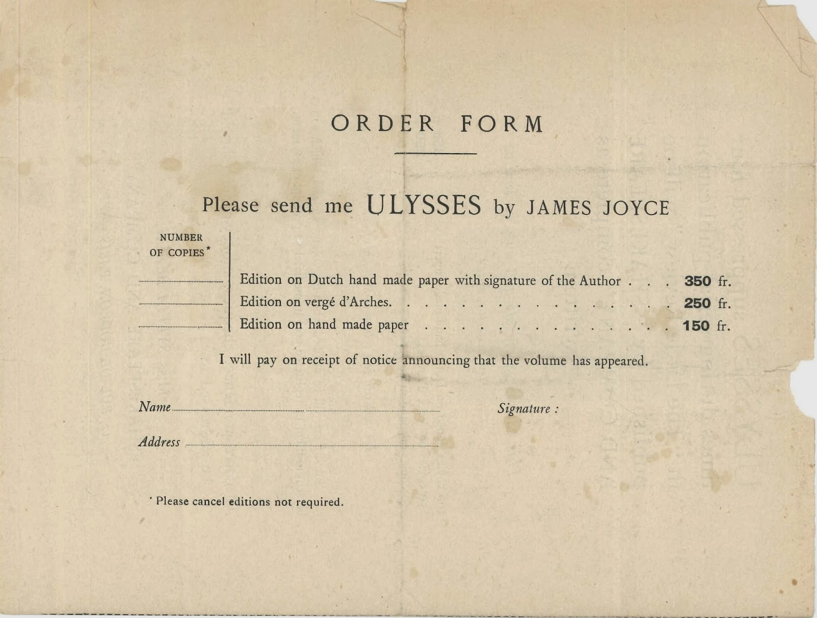 A printed order form.