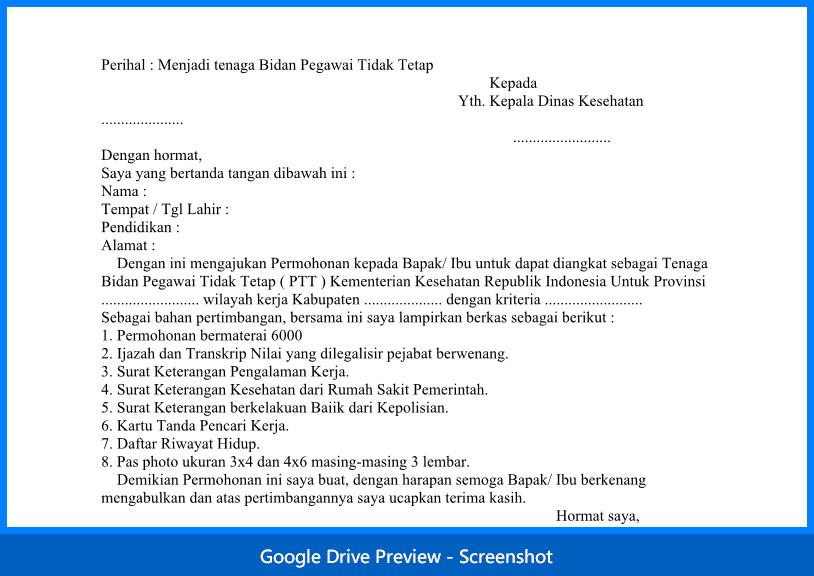 Contoh Surat Lamaran Bidan PTT