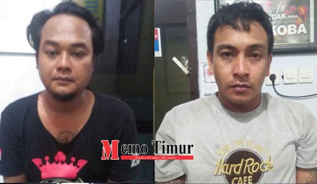 Kedua pelaku saat diamankan di Polres Lumajang