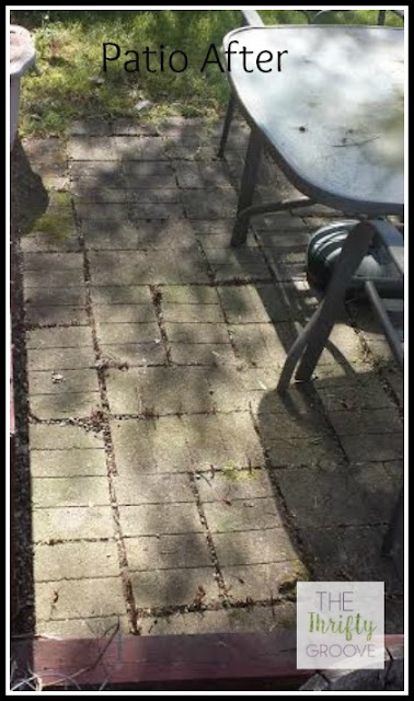 Patio after weeding and using straight vinegar to kill the roots of the weeds. At thethriftygroove.com