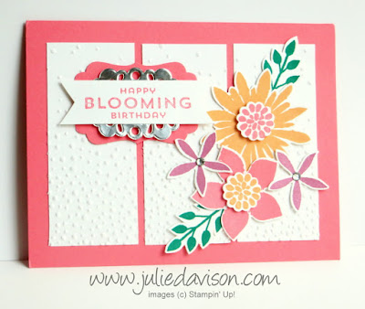 Stampin' Up! Flower Patch Birthday Card + NEW In Colors #stampinup www.juliedavison.com