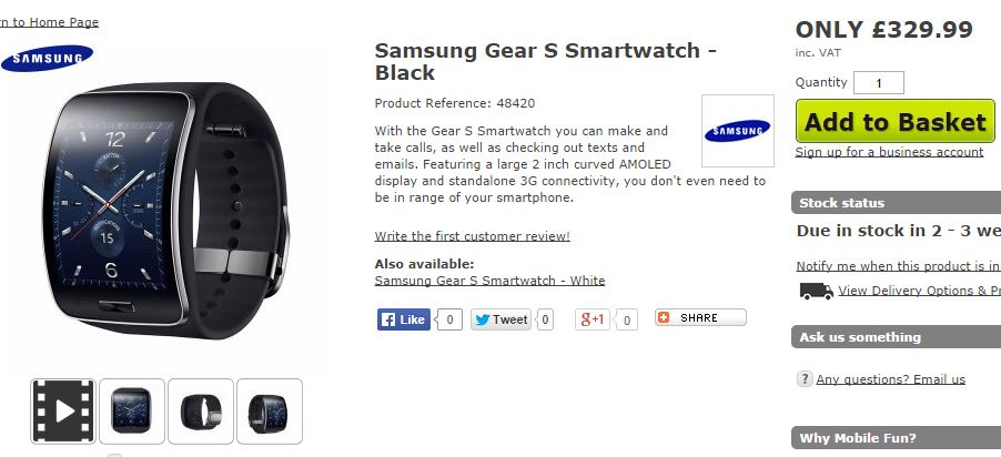 Whats the price of Samsung Gear S in UK?