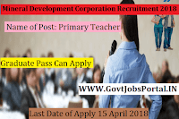 Gujarat Mineral Development Corporation Recruitment 2018– Primary Teacher