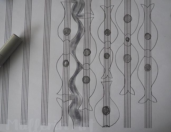musikalische Fische nach ©muellerinart