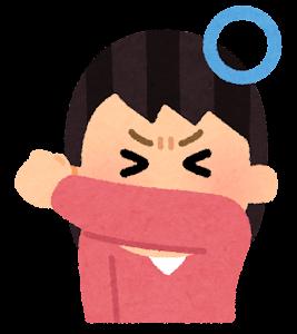 咳エチケットのイラスト(服の裾で覆う)