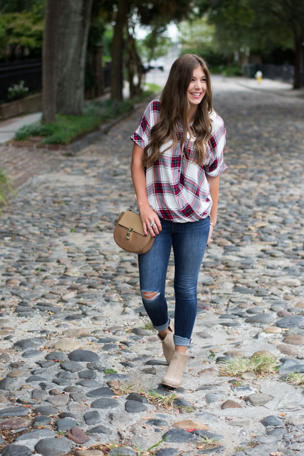 Short Sleeve Plaid Top | Chasing Cinderella
