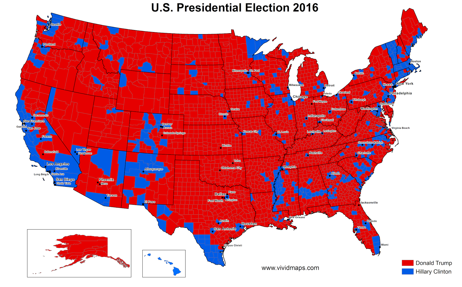 U.S. presidential election results by county: Clinton vs Trump