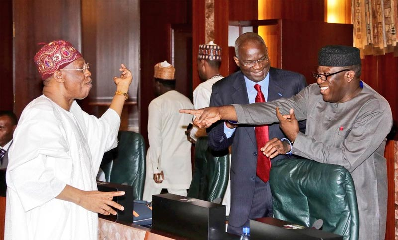 Caption this photo of Lai Mohammed, Feymi and Fashola at FEC meeting today