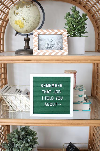 A styled rattan shelf