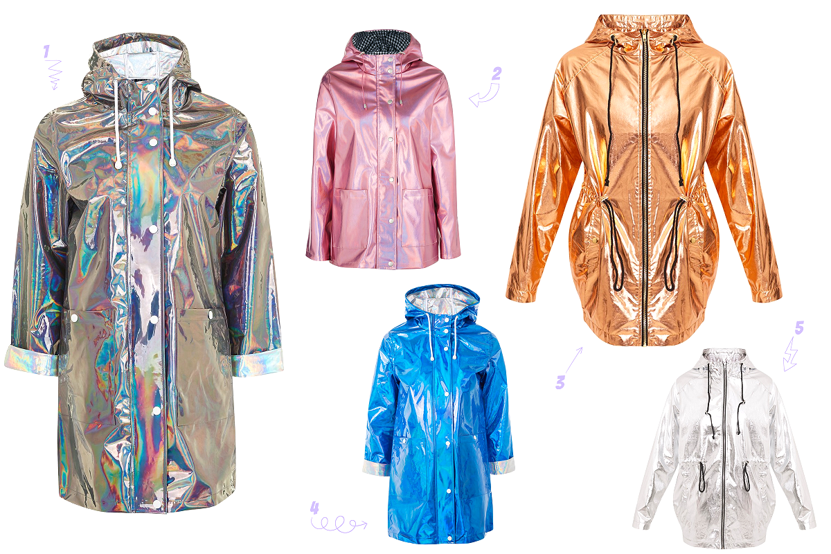 Metallic & Holographic Rain Macs from Topshop & Pretty Little Thing
