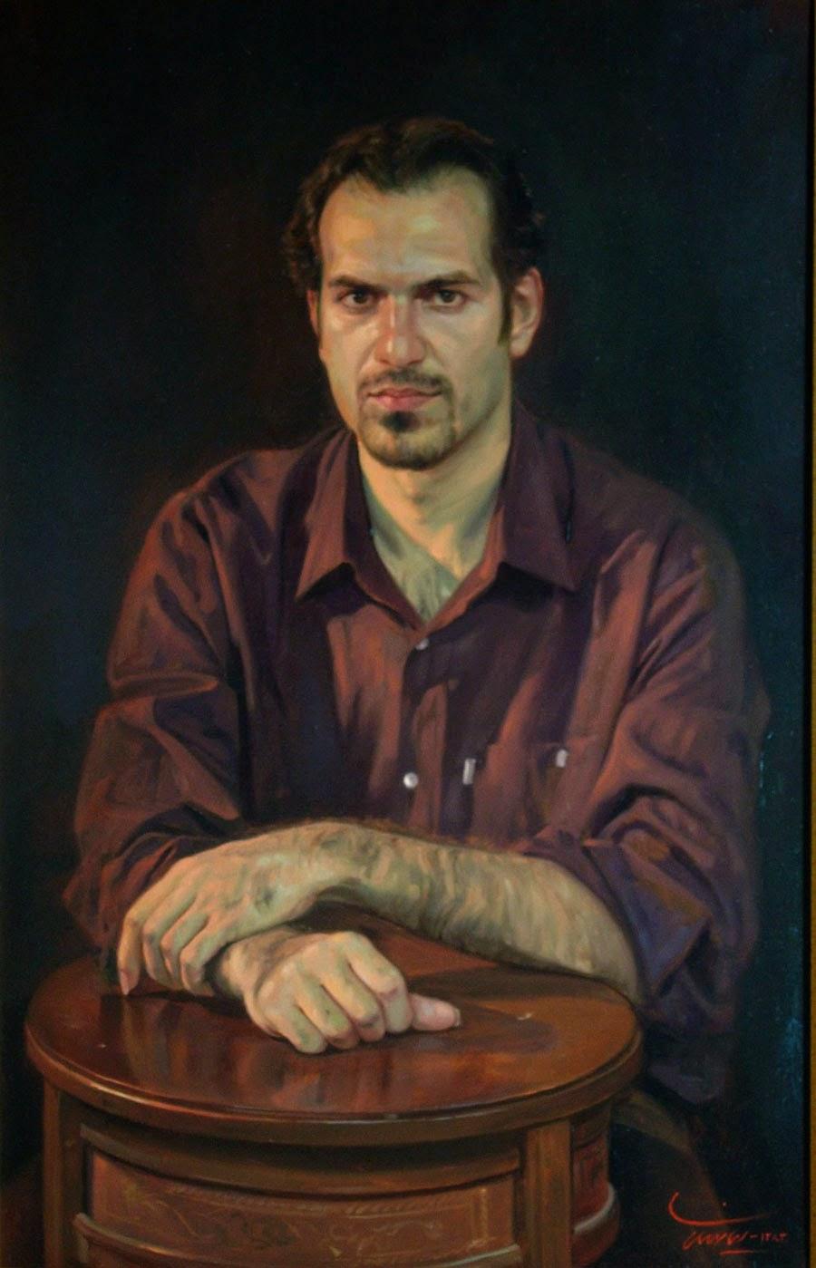 Retrato de um Homem Jovem - Iman Maleki e suas pinturas realistas ~ Pintor iraniano