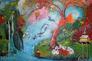 with heart and soul, art, gallery, kunst, noget til væggen,billeder, bestilling, salg, delfin, får, olando, luftballon