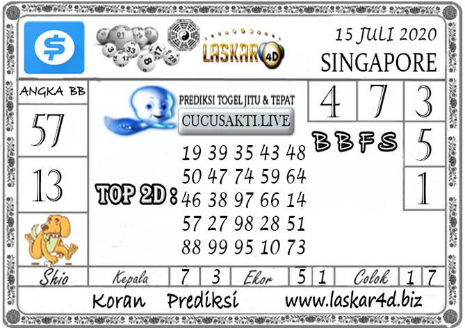 Prediksi Togel SINGAPORE LASKAR4D 15 JULI 2020