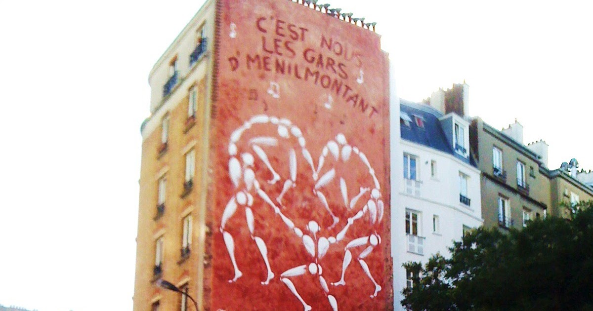 sunday street art j r me mesnager danse des hommes blancs rue de m nilmontant paris 20. Black Bedroom Furniture Sets. Home Design Ideas