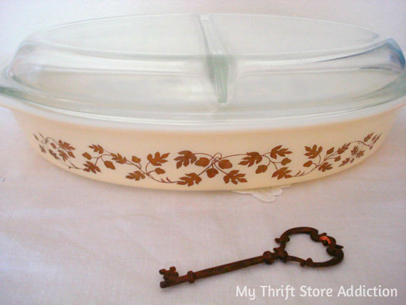Vintage Golden Acorn casserole dish