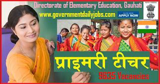 DEE Assam Jobs Notification 2018 for Assistant Teachers (Lower & Upper Primary Schools)