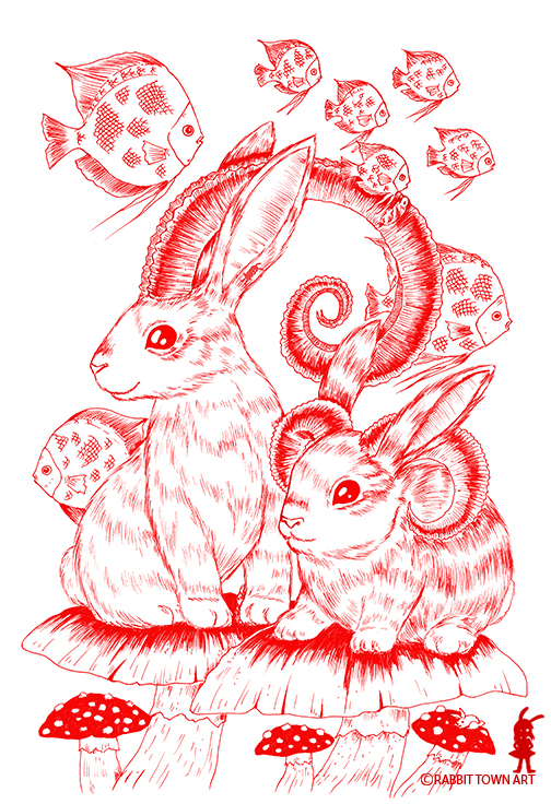Done with red uniball pen by Marta Tesoro aka Rabbit Town Art