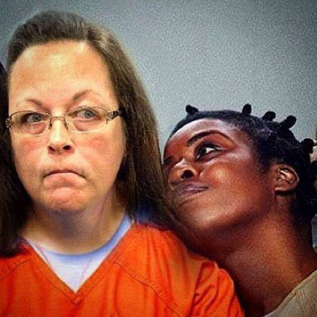 Jailed County clerk Kim Davis and Crazy Eyes from Orange is the New Black