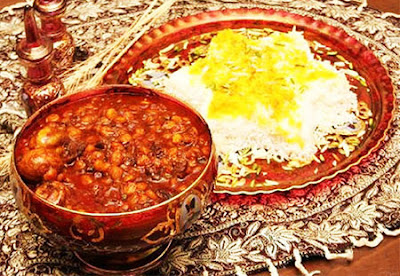 "Integral parts of Iranian dishes are Rice and Khoresh, or ""Lamb stew"" which is prepared with meat, oil and vegetables. Chelo is rice served with oil or butter and eaten with kebab or other khoresh."