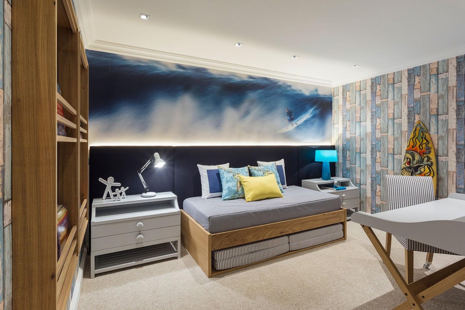 Construindo Minha Casa Clean Quarto Para Menino Surfista  ~ Quarto Com Cabeceira Estofada E Quarto Para Alugar Em Sp