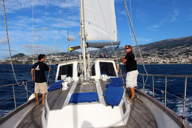 yacht Gavião to sail to the Desertas islands with Funchal in the back