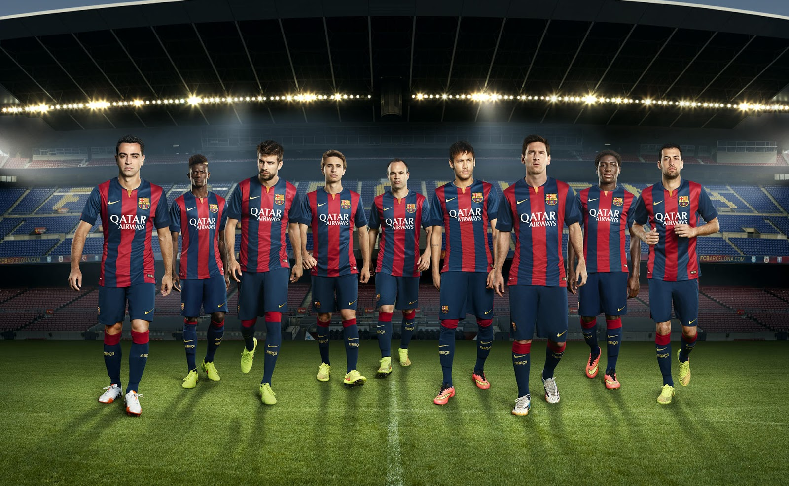 97efd44e75b The striking detail of the new Barca 2014-2015 kit is the blue round  collar