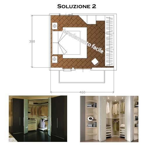 Camera da letto con esempi di cabina armadio