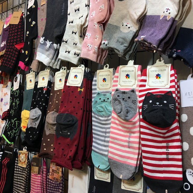 cute cat socks from Korea at Shilin Night Market in Taipei, Taiwan