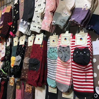 cute cat socks from Korea at Shilin Night Market in Taipei, Taiwan