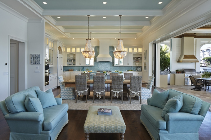 Coastal Home Decor Glam Kitchen Blue Shell Chandeliers Wicker Furniture  Blue Couches White Kitchen With Colorful