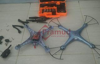 syma indonesia, cara membongkar jeroan mesin, circuit board receiver, rangkaian pcb drone syma X5HW - pramud