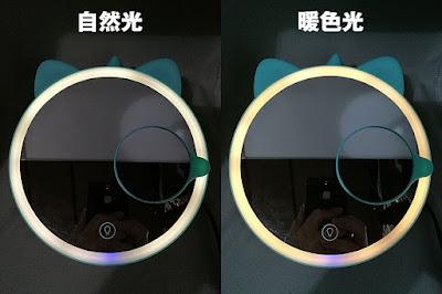 鏡にはLEDライトが付いている