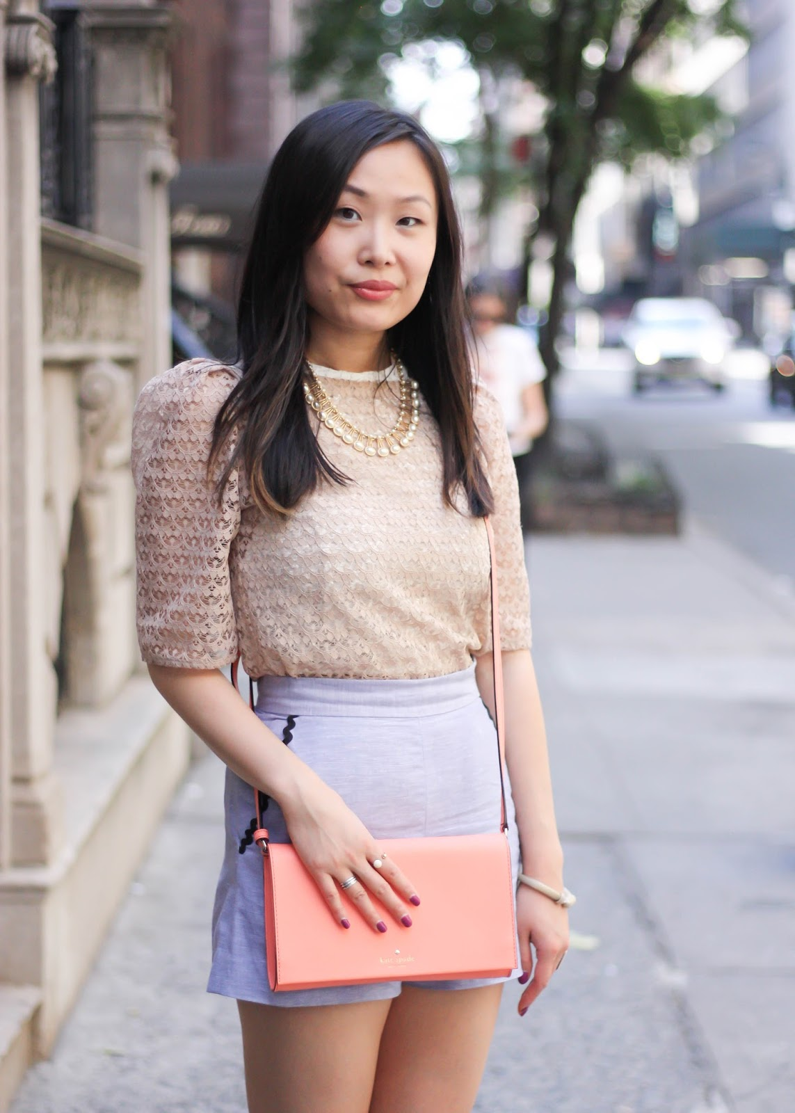 Feminine Summer Shorts and Pink Lace Top