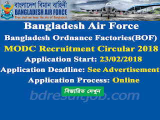 Bangladesh Air Force MODC Sainik Recruitment Circular 2018