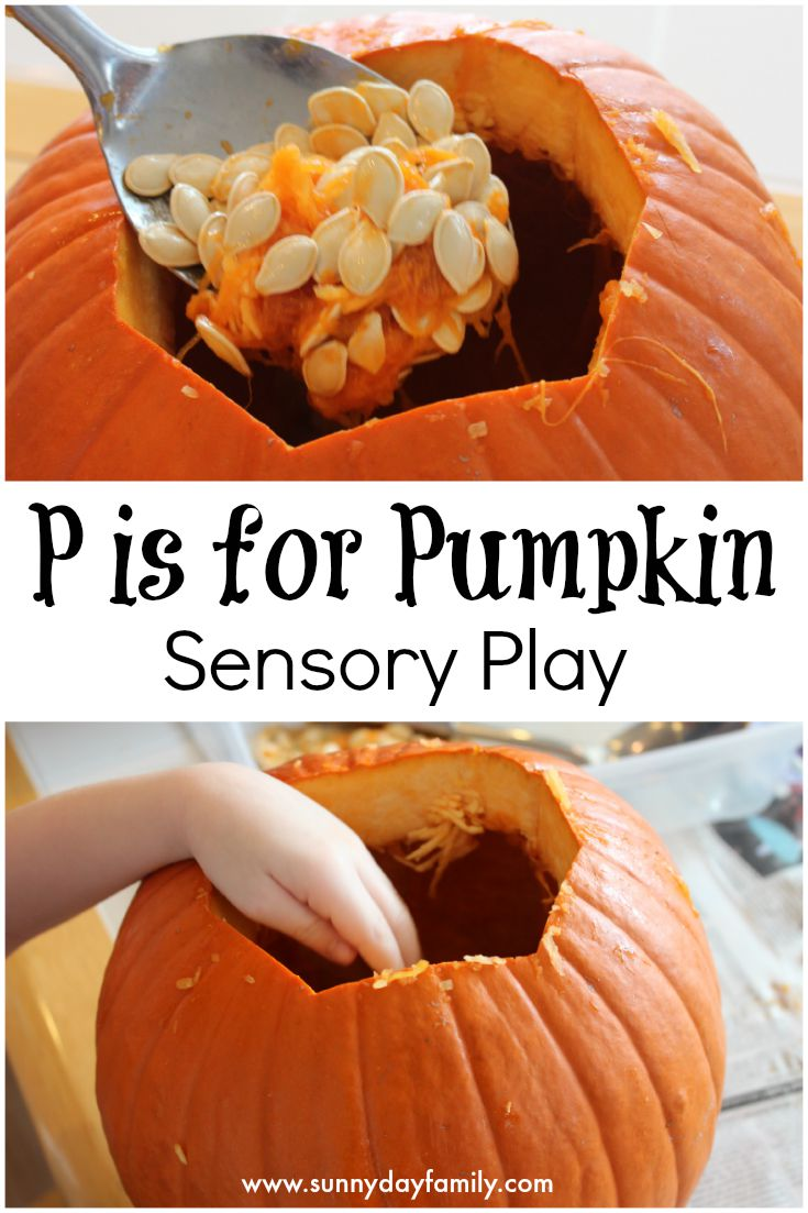Pumpkin sensory play! Exploring pumpkins inside and out is an amazing sensory experience for toddlers & preschoolers.