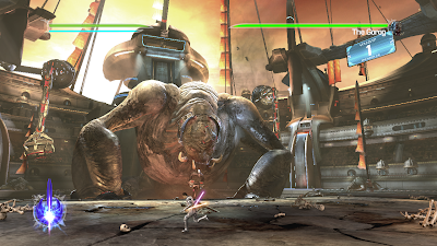 A screenshot of the Gorog, a hard boss on the PC version of Force Unleashed
