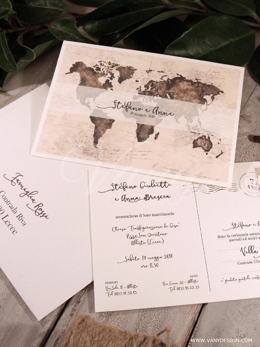 Partecipazioni Matrimonio Viaggio.Matrimonio Fai Da Te Partecipazione Cartolina Con Busta Victoria
