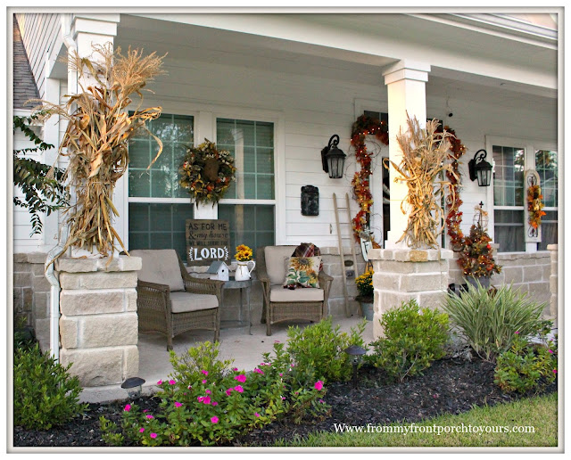 Fall Porch Decorations-Corn Stalks on Columns-Wicker Chairs-Fall Wreath-Farmhouse-From My Front Porch To yours