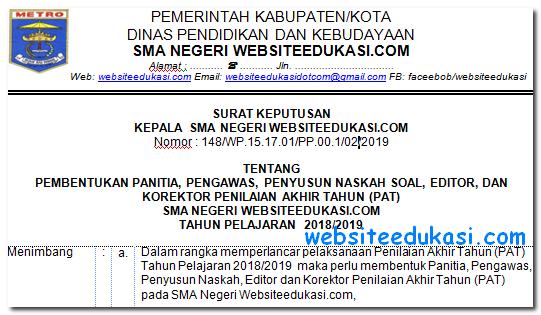 SK Panitia PAT Tahun Pelajaran 2018/2019