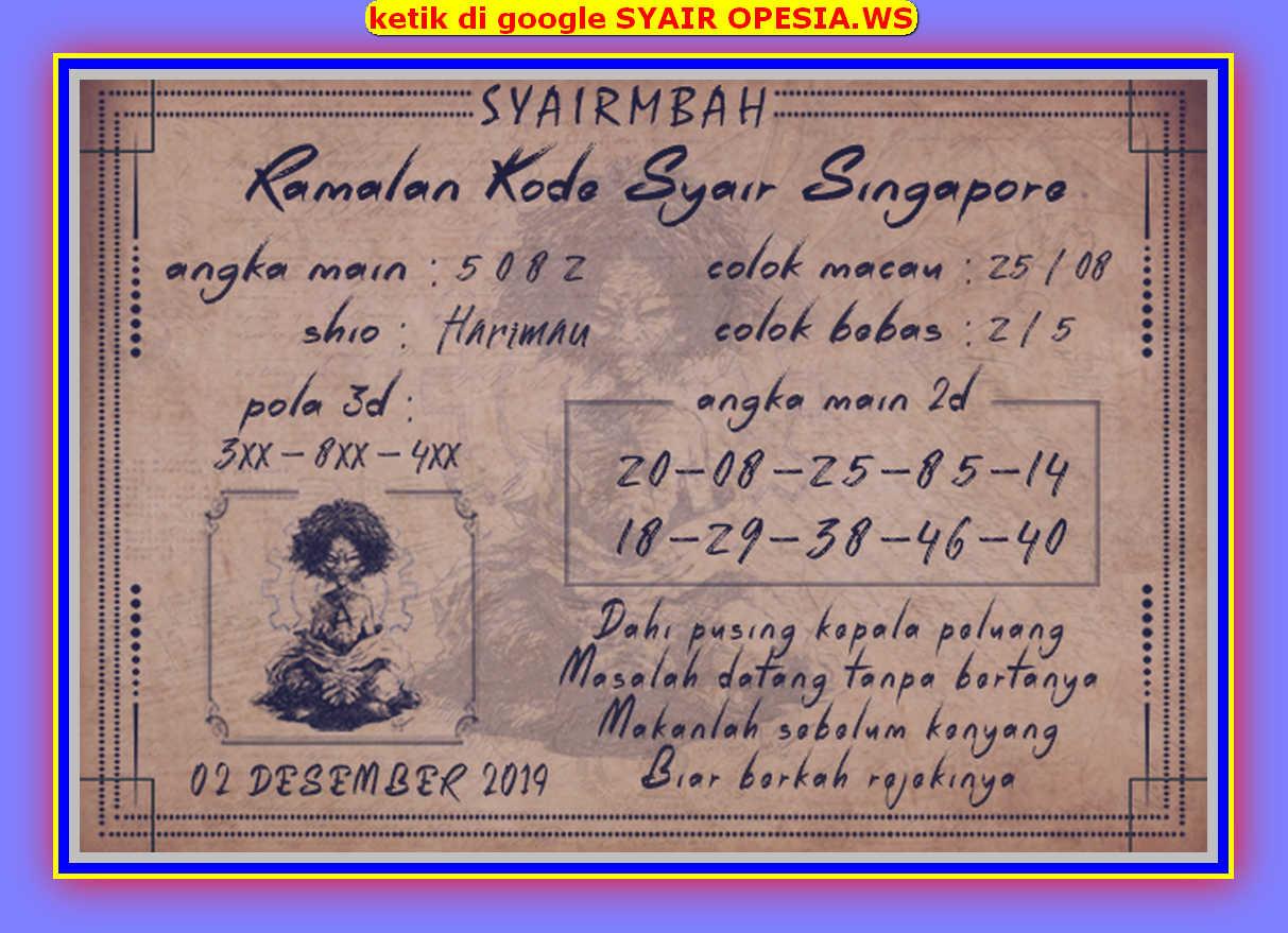 Kode syair Singapore Senin 2 Desember 2019 90