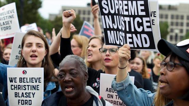 Estadounidenses protestan contra candidato de Trump a Corte Suprema
