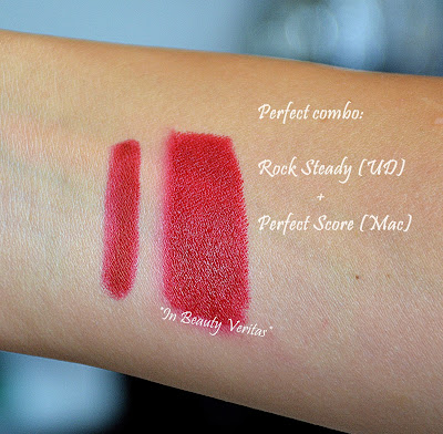 mac perfect score swatches, mac it's a strike swatches, urban decay rock steady