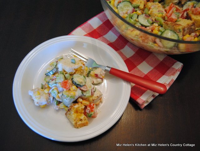 Cheesy Jalapeno Bacon Cornbread Salad at Miz Helen's Country Cottage