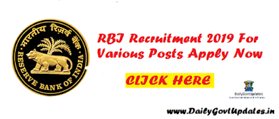 RBI Recruitment 2019 For Various Posts Apply Now - DailyGovtUpdates.In