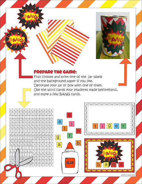 Bang Vocabulary Classroom Game Printables