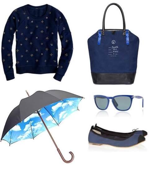 J.Crew sweatshirt, Fleabag bag, MOMA umbrella, Persol sunglasses, Bloch ballet flats