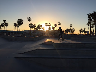 ziggy and rocket skating venice beach sunrise
