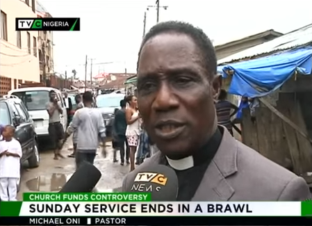 Watch how members of a church threw out their pastor during church service in Lagos