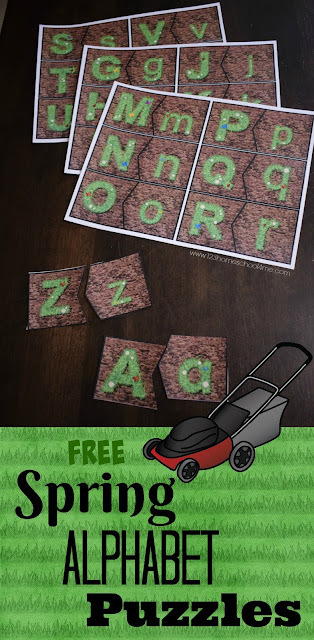 FREE Spring Alphabet Puzzles that help kids practice identifying upper and lower case letters in a fun spring themed educational actiivty for toddler, preschool, prek, kindergarten age kids
